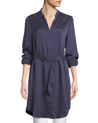 Eileen Fisher Silk Charmeuse Button-Front Long Shirt