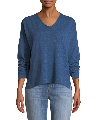 Organic Linen-Blend V-Neck Top, Petite