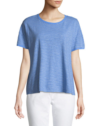 Striped Jersey Boxy Top, Petite