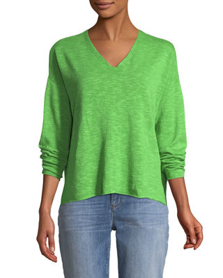 Eileen Fisher Organic Linen-Blend V-Neck Top