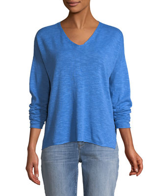 Organic Linen-Blend V-Neck Top