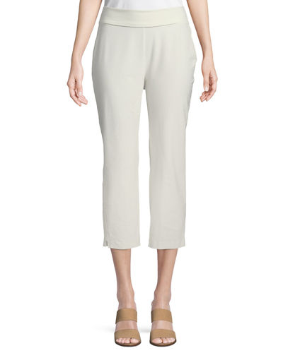 Washable-Crepe Fold-Over Cropped Pants