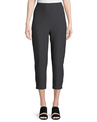 Eileen Fisher Washable-Crepe Fold-Over Cropped Pants, Plus Size