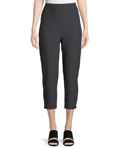 Washable-Crepe Fold-Over Cropped Pants, Plus Size