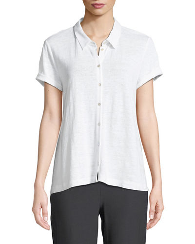 Eileen Fisher Organic Linen Button-Front Top, Plus Size