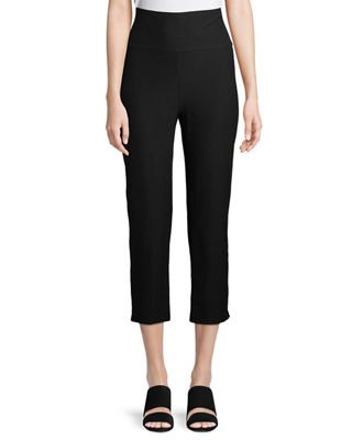 Eileen Fisher Washable-Crepe Fold-Over Cropped Pants, Petite