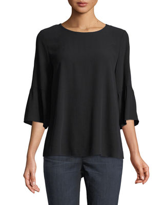 Round-Neck Flutter-Sleeve Silk Top, Plus Size