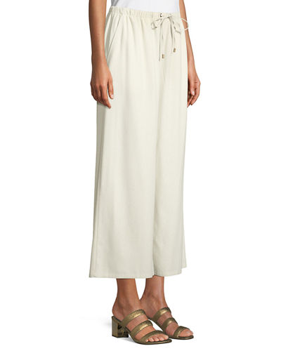 Drawstring-Waist Wide-Leg Linen Cropped Pants