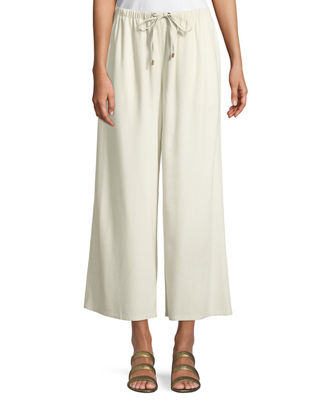 Eileen Fisher Drawstring-Waist Wide-Leg Linen Cropped Pants