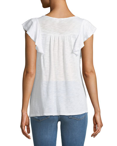Lace-Trim Ruffle Short-Sleeve Top