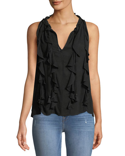 Ruffle-Front Tie-Neck Tank
