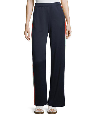 Wide-Leg Side-Stripe Jersey Track Pants