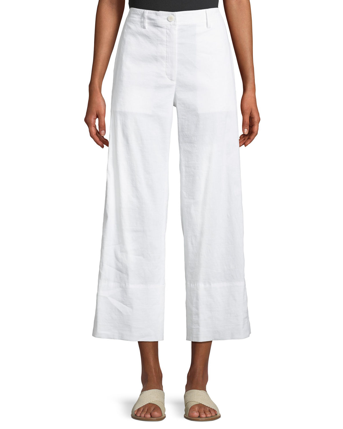 Fluid Cropped Wide-Leg Pants