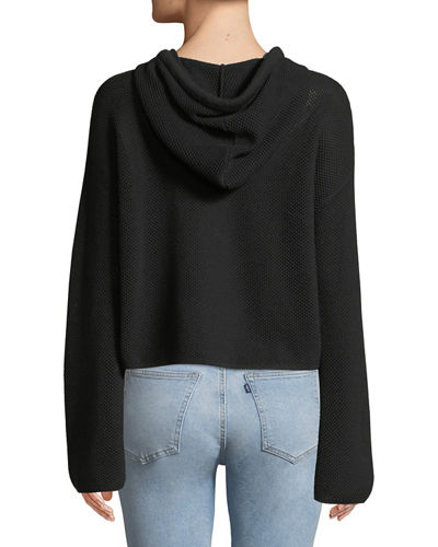 Mesh Cropped Pullover Sweatshirt
