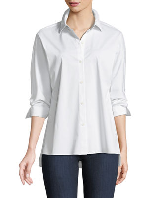 Lafayette 148 New York Felicity Italian Stretch-Cotton Blouse