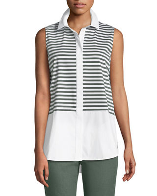 Lafayette 148 New York Malta Striped Jersey Button-Front