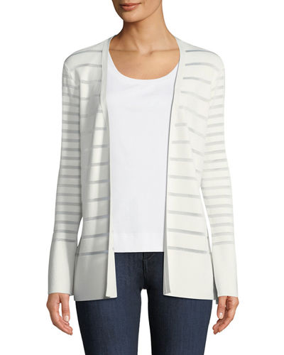 Matte Crepe Mixed Stripe Cardigan
