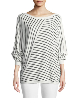 Lafayette 148 New York Matte Crepe Directional Striped