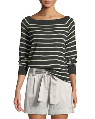 Lafayette 148 New York Fine-Spun Lightweight Striped Raglan