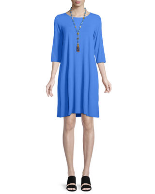 Eileen Fisher Jewel-Neck Jersey Shift Dress