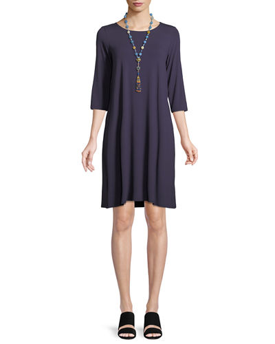 Jewel-Neck Jersey Shift Dress
