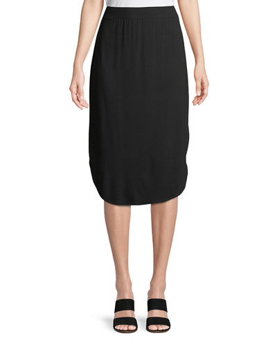 Viscose Jersey Slim Pull-On Skirt, Plus Size