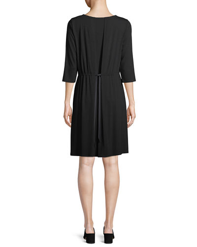 Jewel-Neck Jersey Shift Dress, Petite