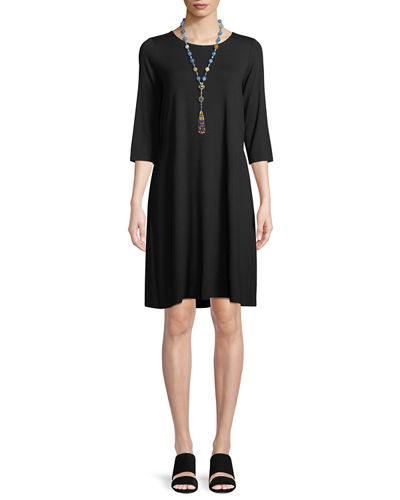 Petite Jewel-Neck Jersey Shift Dress