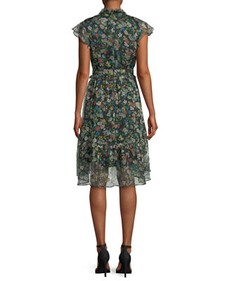 Image 2 of 3: Floral-Print Ruffle Knee-Length Dress
