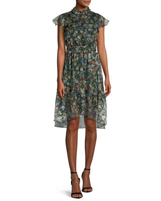 Image 1 of 3: Floral-Print Ruffle Knee-Length Dress