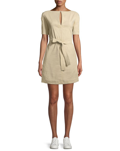 Belted Crunch Wash Shift Dress w/ Self-Tie Waist