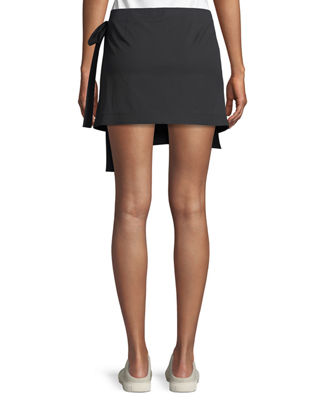 Image 2 of 5: Wrap-Tie Mini Skirt in Stretch Cotton