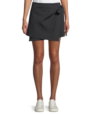 Image 1 of 5: Wrap-Tie Mini Skirt in Stretch Cotton