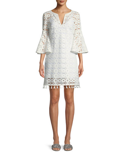 Loomis Lace Bell-Sleeve Tassel Dress