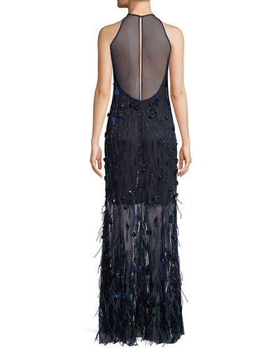 Amia Sleeveless Embellished Feather Dress