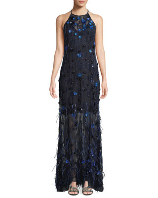 Elie Tahari Amia Sleeveless Embellished Feather Dress