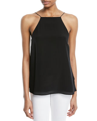 Image 2 of 4: The Charlie Lace-Back Silk Crepe de Chine Tank