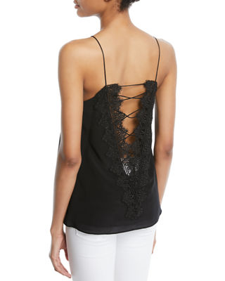Image 3 of 4: The Charlie Lace-Back Silk Crepe de Chine Tank