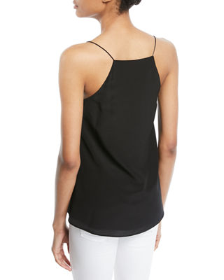 Image 4 of 4: The Charlie Lace-Back Silk Crepe de Chine Tank
