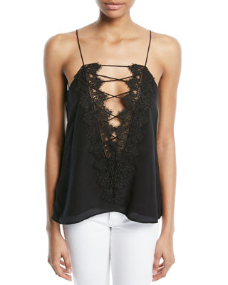 Image 1 of 4: The Charlie Lace-Back Silk Crepe de Chine Tank