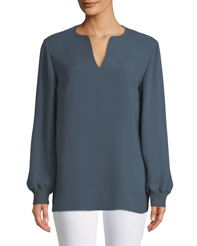 Roxy Double Georgette Blouse with Knit Cuffs