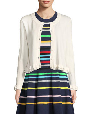 ruffled-trim-button-front-cardigan by milly