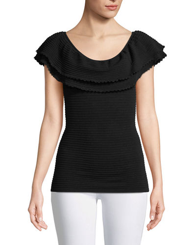 Discount Shop Sale Online Shop Milly Leather Textured Top Outlet Visit Perfect 8do500zw