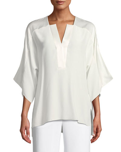 Nolia Silk-Trim Blouse