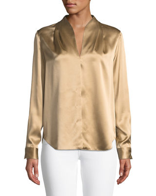 Elie Tahari Diya High-Neck Silk Blouse