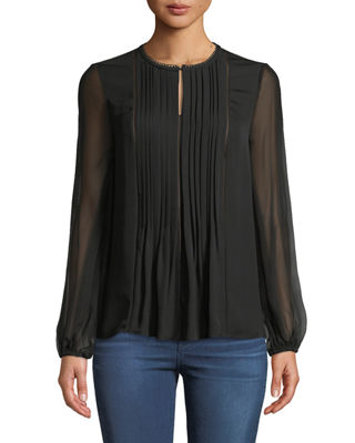 Elie Tahari Piper Pleated Silk Blouse