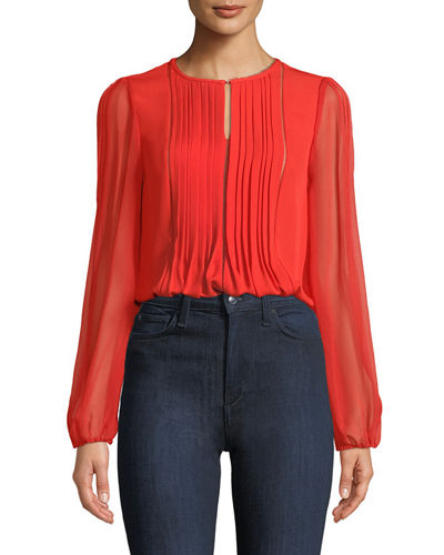 Piper Pleated Silk Blouse