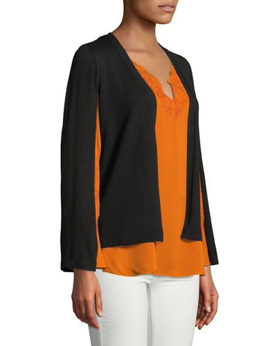 Weslyn Embroidered-Trim Silk Blouse