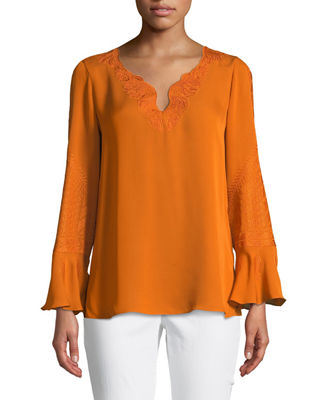Kobi Halperin Weslyn Embroidered-Trim Silk Blouse