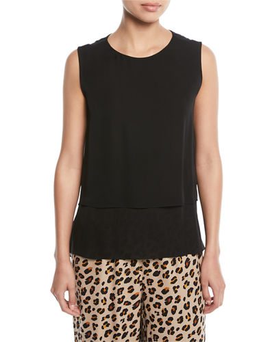 Kara Sleeveless Layered Silk  Blouse